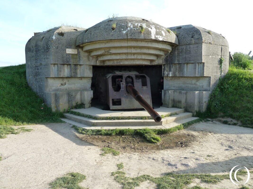 Marine Küsten Batterie Longues-sur-Mer, Normandy France